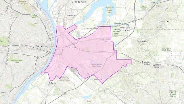Boil order for large portion of Metro East (Credit: Illinois American Water online map)