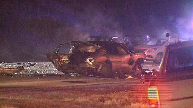 Scene of a fatal wrong-way crash on Route 255 in Godfrey Wednesday (Credit: KMOV)