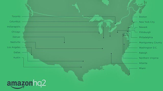 The final 20 cities in the running for Amazon HQ2. (Credit: Amazon News)