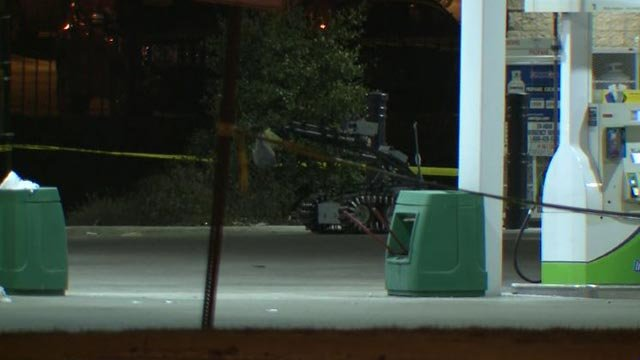 A robot removed the suspicious item from the BP gas station early Friday morning (Credit: KMOV)