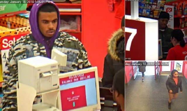 Police are seeking these individuals, suspected of stealing credit cards after smashing out a car window Thursday. (Credit: Town and Country Police)