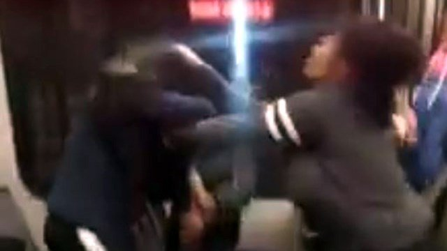A still shot from a video capturing a brawl on a MetroLink train Thursday (Credit: KeShaun Thomas)