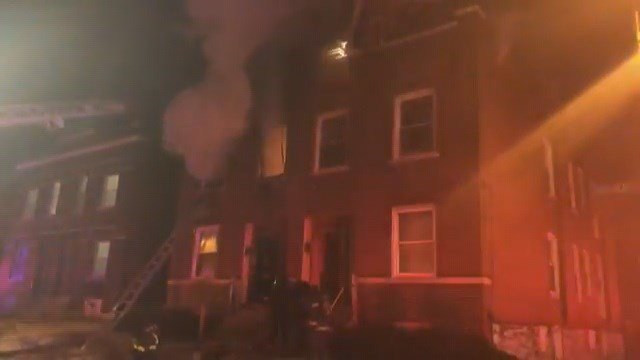 A fire broke out in a home on Angelica St. in North St. Louis Saturday morning. (Credit: KMOV)