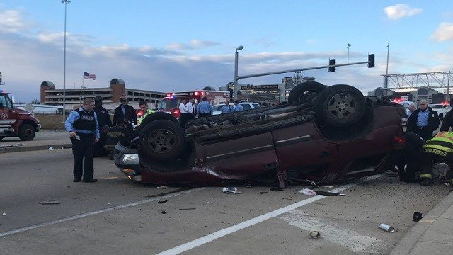 Four people were injured in an accident on Jefferson in St. Louis on Monday. (Credit: St. Louis Fire Department)