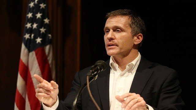 Missouri Governor Eric Greitens takes a reporters question as he unveils the new state budget during a press conference at the State Capitol in Jefferson City, Missouri on January 22, 2018.  Photo by Bill Greenblatt/UPI