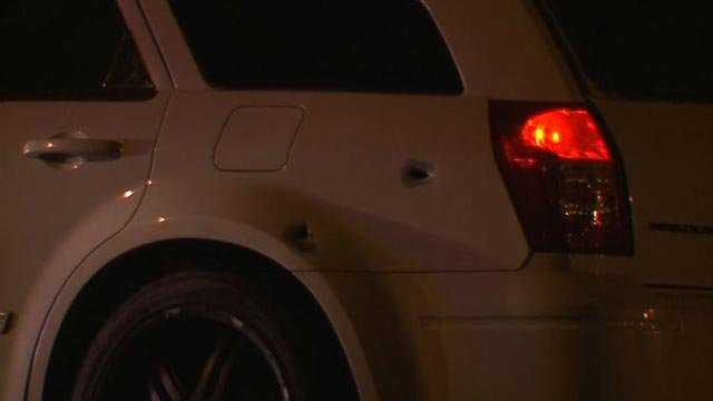 A car was found with bullet holes on I-70 Wednesday (Credit: KMOV)