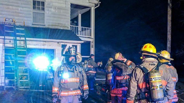 The fire broke out in the attic of this Godfrey, Illinois home that was built in the 1820s. (Credit: Godfrey Fire Protection District)