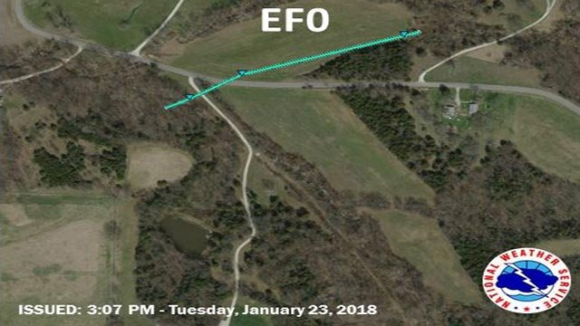 Path of the EF0 tornado in Franklin County (Credit: National Weather Service)