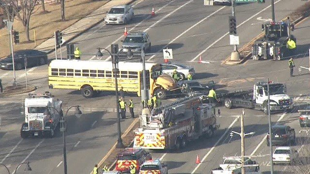 A school bus carrying kids from the Parkway School District collided with a car in Creve Coeur Friday morning at Tempo and Olive (KMOV)