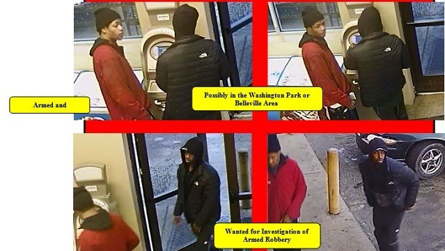 Police are searching for these two male suspects for the armed robbery of an elderly Belleville man. (Credit: Saint Clair County Sheriff's Department)