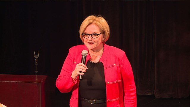 Sen. Mccaskill speaks at a town hall at Harris Stowe University Saturday ( Credit: KMOV)