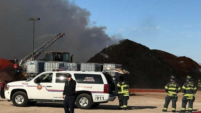 A mulch fire broke out in O'Fallon, Missouri Sunday afternoon. (Credit: KMOV)