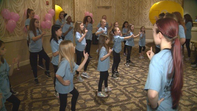 The girls attending the Dazzling Divas event learn a dance routine. (Credit: KMOV)