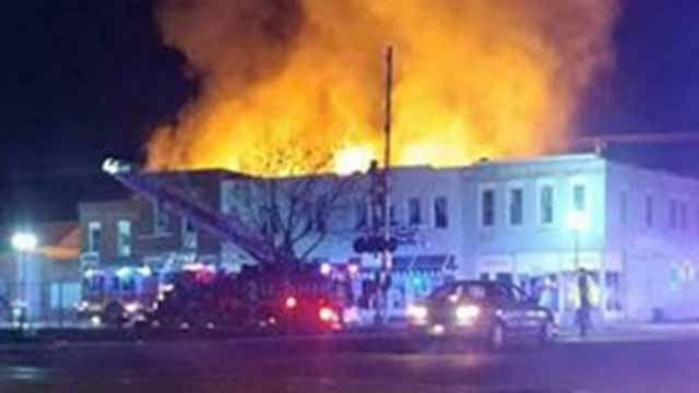 A fire broke in the 600 block of South Main Street in De Soto. Credit: Kim Baker
