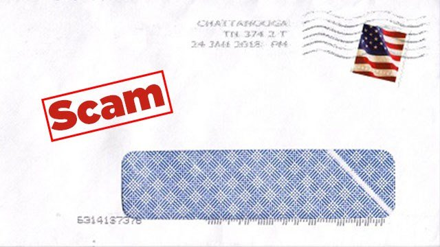 An example of the letter Creve Coeur residents are finding in their mailboxes ('SCAM' added by KMOV). (Credit: Creve Coeur Police Department)