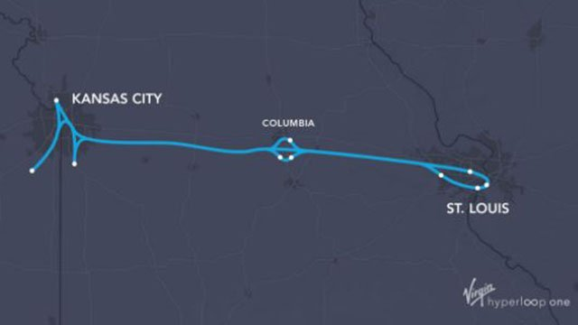 Map of the proposed Hyperloop Missouri project. (Credit: AP)