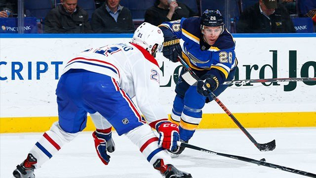Paul Stastny #26 of the St. Louis Blues passes the puck against the Montreal Canadiens at Scottrade Center on January 30, 2018 in St. Louis, Missouri. (Photo by Dilip Vishwanat/NHLI via Getty Images)
