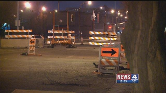 Work under the street near 17th and Cass has the street closed off. Credit: KMOV