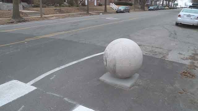 One of the traffic balls in the Gate District along Compton Ave. and Lafayette Ave. was hit and ended up rolling one block north.(Credit: KMOV)