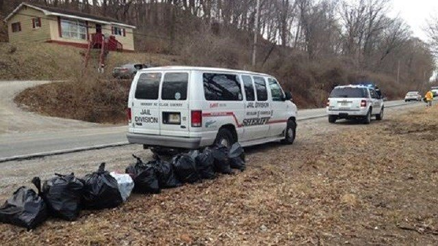 Officials bagged trash and removed it from the dumping area. (Credit: St. Clair County Sheriff's Department)