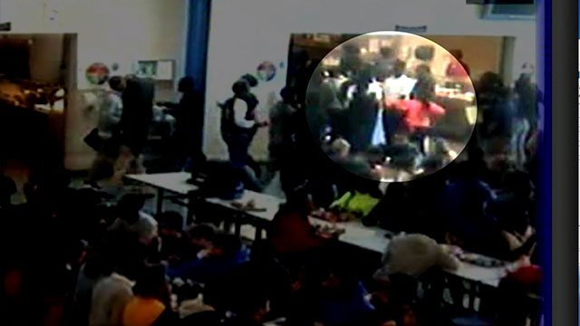 Surveillance footage of Hazelwood North Middle schooler Staci Washington being attacked in 2017. (Credit: KMOV)