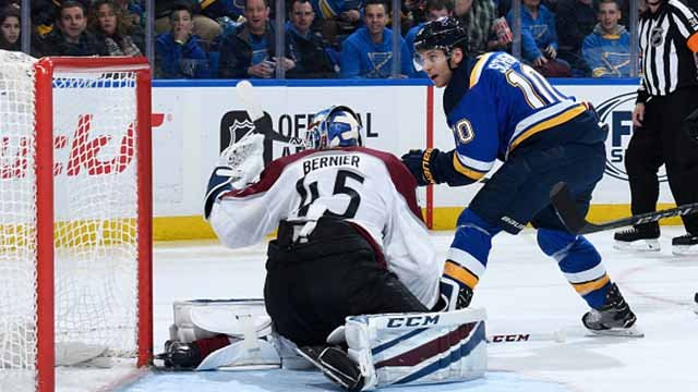 Brayden Schenn #10 of the St. Louis Blues scores a goal against Jonathan Bernier #45 of the Colorado Avalanche at Scottrade Center on February 8, 2018 in St. Louis, Missouri. (Photo by Scott Rovak/NHLI via Getty Images)