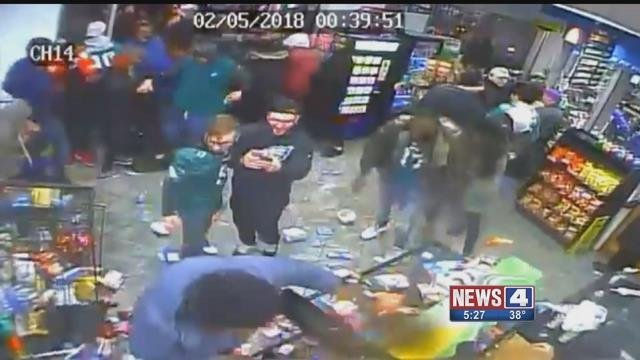 Eagles fans looting a store after Super Bowl LII. Credit: KMOV