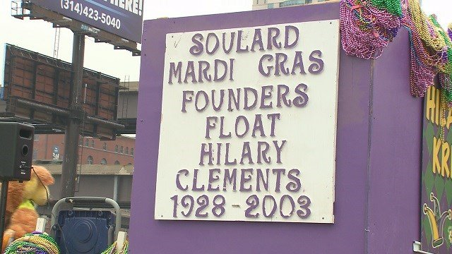 A close-up of the Mardi Gras float honoring the parade's founder. (Credit: KMOV)