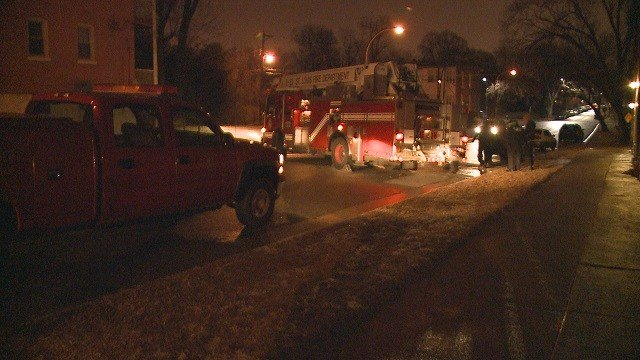 A fire truck slid into a parked vehicle in Tower Grove early Sunday morning due to icy roads. (Credit: KMOV)