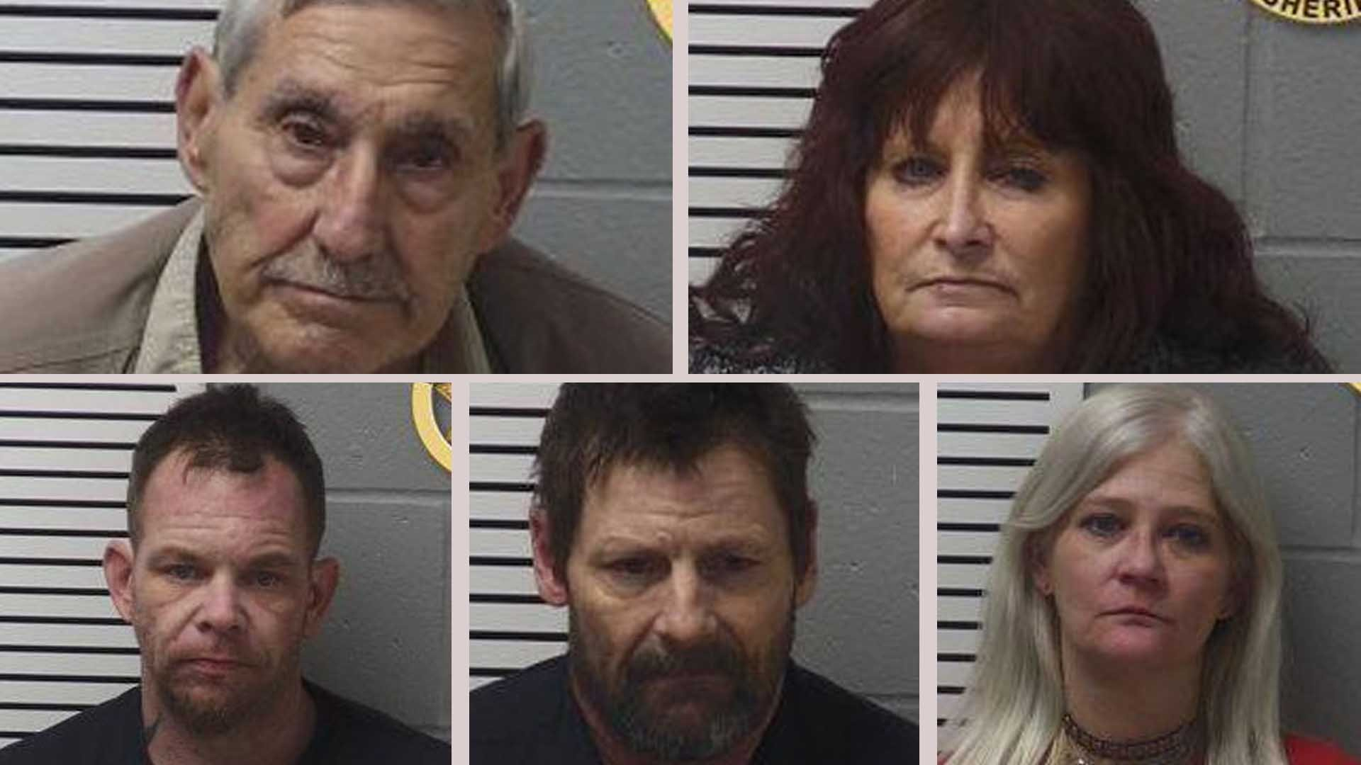 "Shawn Fincher, Wanda Lenk, Larry Smith, Roxie Acy and John Voshen are all facing charges stemming from a ""meth party."" (KMOV)"