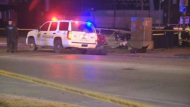 One person was killed and another was injured in a two-car accident that happened near the intersection of Kingshighway and Arsenal Monday night. Credit: KMOV