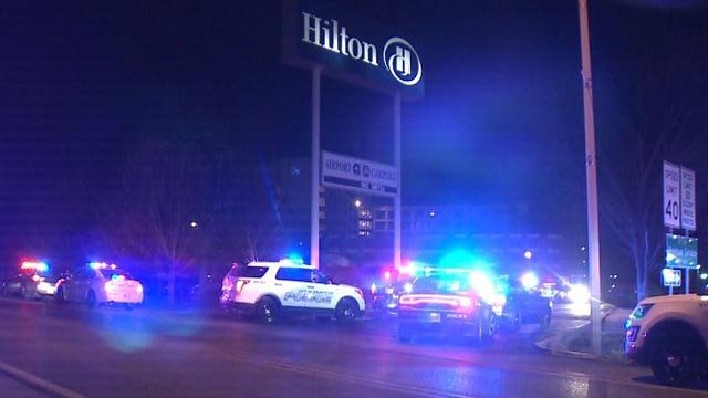 Police cars outside the Hilton St. Louis Airport Hotel following an overnight disturbance (Credit: KMOV)