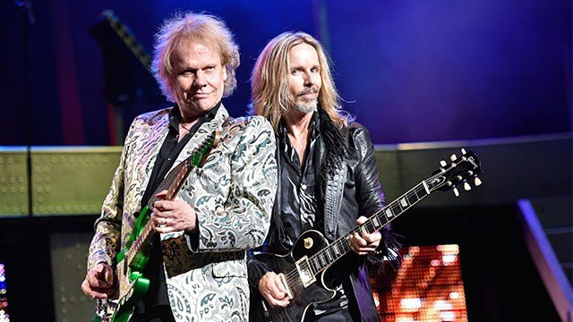 James Young, left, and Tommy Shaw of the band Styx perform in concert on Saturday, July 1, 2017. (Credit: AP)