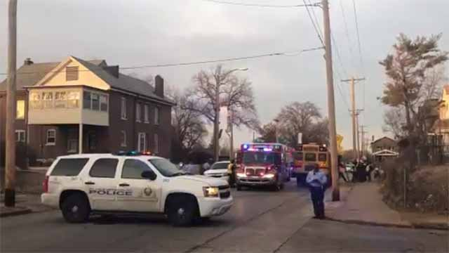 A bus driver said two kids were hit by a car near the intersection of Euclid and Labadie Wednesday. Credit: KMOV