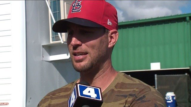 Adam Wainwright addresses the media about asking him questions about retirement or extension talk. (Credit: KMOV)