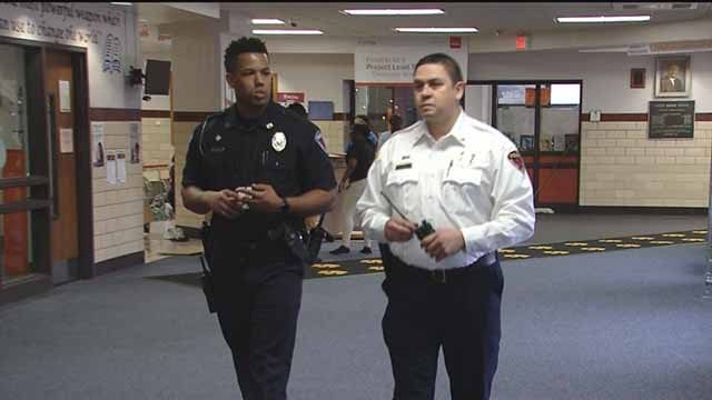St. Ann Police Chief at Ritenour High School. Credit: KMOV