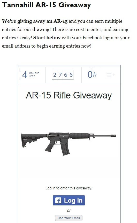 The raffle listed on Tannahill's website. (Credit: Tannahill Republican for Congress)