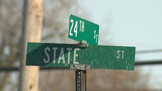 Road sign where officer-involved shooting took place (Credit: KMOV)