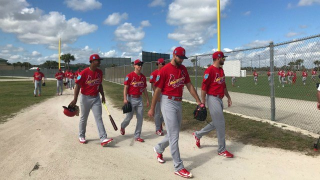The Cardinals had their first full-squad workout in Jupiter Monday. (Credit: KMOV)