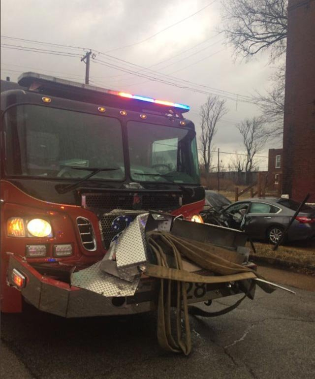 Damage to a fire truck after a crash in north St. Louis Tuesday (Credit: Mark Griffin / News 4)