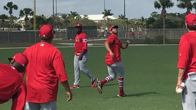 Tommy Pham practices tracking fly balls Tuesday in Cardinals spring camp. (Credit: KMOV)