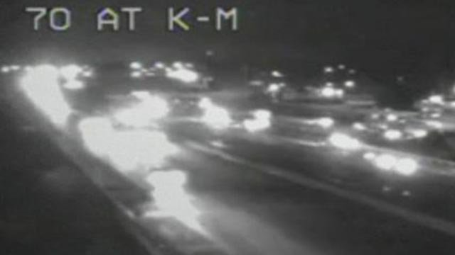 All WB lanes of I-70 were closed at Highway K Wednesday (Credit: KMOV)