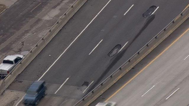 Potholes on I-64 near Vandeventer (Credit: KMOV)