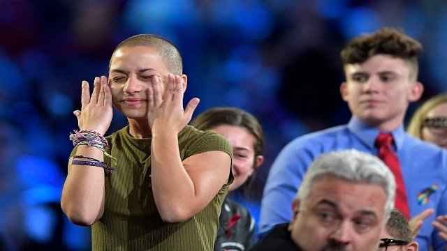 Marjory Stoneman Douglas High School student Emma Gonzalez wipes away tears during a CNN town hall meeting on Wednesday, Feb. 21, 2018, at the BB&T Center, in Sunrise, Fla. (Michael Laughlin/Sun Sentinel/TNS via Getty Images)