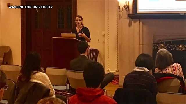 Sheena Greitens speaking at Washington University Thursday night. Credit: Washington University