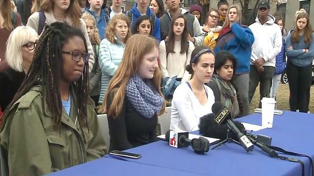 Clayton High School students speaking out Friday (Credit: KMOV)