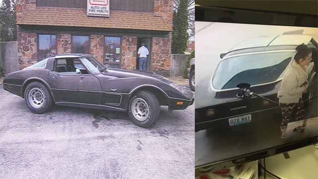 Police say a woman was spotted filling up gas in this stolen Corvette and drove off without paying. Credit: Franklin County Sheriff