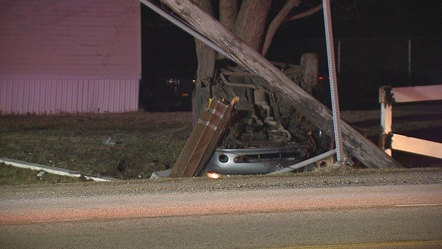 A car hit a pole and flipped over in Cahokia Sunday morning. (Credit: KMOV)