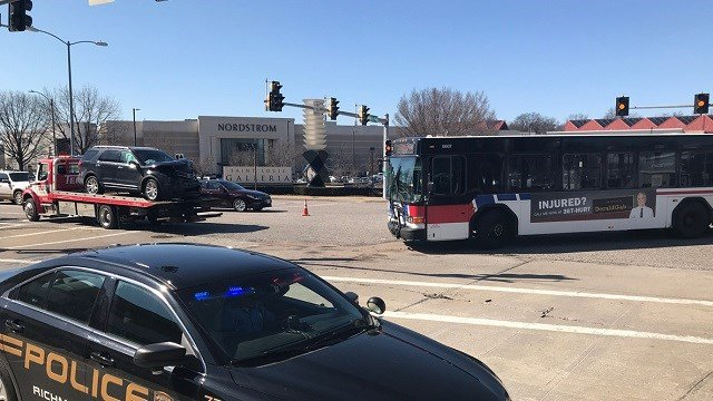 A Metro bus and another vehicle were involved in an accident next to the Galleria Mall. (Credit: KMOV)