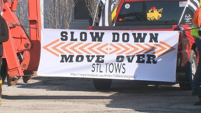 """Slow down, move over"" is the slogan for the campaign raising awareness about the dangers roadside workers face every day. (Credit: KMOV)"